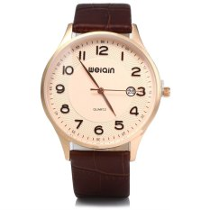 WeiQin 2608 Men Ultrathin Date Leather Analog Quartz Watch COFFEE GOLDEN GOLDEN (Intl)