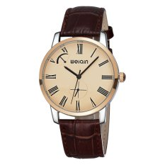 WEIQIN Brand Of High-grade Leather Men's Leisure Mens Watch 5ATM Waterproof Watch-Coffee Rose Gold (Intl)