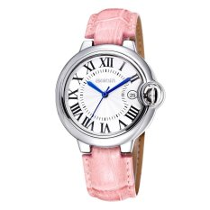 WEIQIN Date Silver Case Genuine Leather Straps Watches Women Water Resistant Lady Fashion Casual Rome Style Watch - Intl
