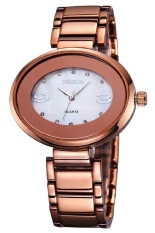 Weiqin Lady White Oval Rhinestone Dial Coffee Brown Alloy Strap Women Watches Office Lady Fashion Dress Quartz Watch (Intl)