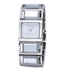 Weiqin Luxury Hardlex Gold Mirror Strap Women's Bracelet Watches Silver Shell Dial (Intl)
