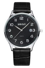 Weiqin Ultrathin Auto Date Balck Genuine Leather Band Calendar Display Men Quartz Watch (Intl)