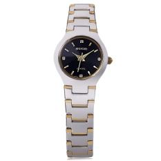 WeiQin W4164L Female Quartz Watch 3ATM Artificial Diamond Dial Hardlex Mirror Wristwatch (Black)