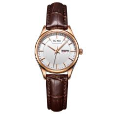 Weishi BUREI Auto Date Women Watch Genuine Leather Strap Quartz Casual Wristwatch 30M Waterproof Fashion Lady Dress Watches Reloj Mujer (Coffee White Leather)