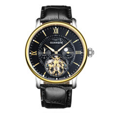 Weishi Crown Qin (GUANQIN) Watch Men Mechanical Watches Hollow Mechanical Waterproof Fashion Mens Watch GJ16036 Luminous Black Gold Shell Black Belt