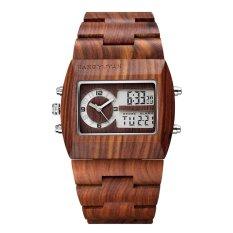 weishi JIANGYUYAN Luxury Natural Sandalwood Wood Watches Men Digital Chronograph LED Dual Time Zone Clock masculino (red sandalwood) - intl