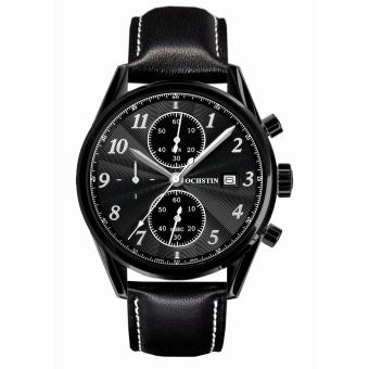 Zuigeili OCHSTIN High-grade Leather Strap Quartz Men's Watch Student Waterproof Sports Chronograph Watch (Black) - Intl