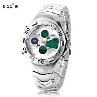 [WHITE] 6.11 898 Male Dual Movt LED Watch Chronograph Alarm Men Quartz Digital Wristwatch