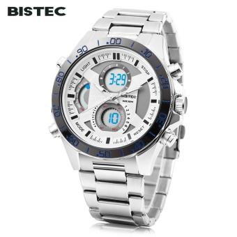 [WHITE] BISTEC 211 Male Dual Movt Outdoor Watch Alarm Chronograph LED Men Sport Wristwatch - intl