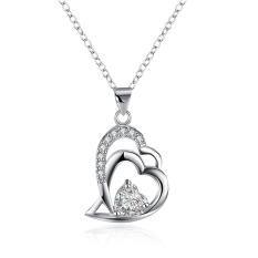 Wholesale Fashion Jewelry 925 Sterling Silver CZ Diamond Heart Pendant Necklace