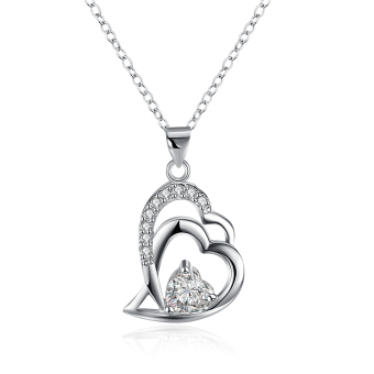 Wholesale Fashion Jewelry 925 Sterling Silver CZ Diamond Heart Pendant Necklace