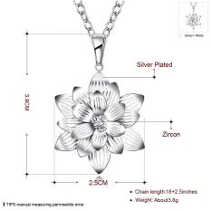 Wholesale Silver Necklace Jewelry For Women Wedding High Quality Flowers With Color Crystal - Intl