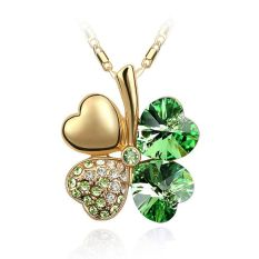 Whyus-New Durable Premium Jewelry Gold Plated Crystal Lucky Four Leaf Clover Pendant Necklace (Green) - Intl