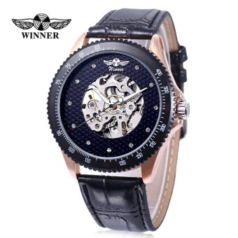 WINNER A055 Male Auto Mechanical Watch Luminous Hollow Artificial Diamond Dial Wristwatch (Black) - intl