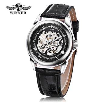 Winner Auto Mechanical Men Watch Artificial Diamond Scales Visible Movt Luminous Male Wristwatch - intl