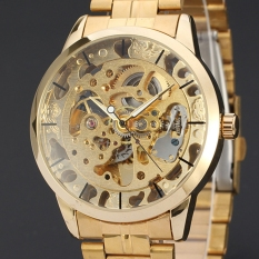 Winner Automatic Mechanical Men Self Winding Gold Skeleton Transparent Wristwatches