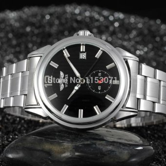 Winner Automatic Men Black Skeleton Wristwatch Stainless Steel Bracelet - intl