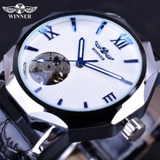 Winner Blue Hands Design Transparent Skeleton Small Fashion Dial Display Mens Watches - Intl