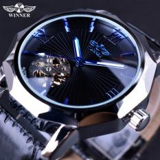 Winner Blue Ocean Geometry Design Transparent Skeleton Dial Men Luxury Automatic Fashion Mechanical Watch - Intl