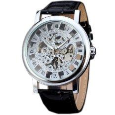 WINNER Classic Mechanical Hand Wind Skeleton Leather Mens Wrist Watch Silver WW275 (Intl)