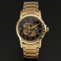 Winner Classic Skeleton Design Auto Mechanical Watch Gold Steel Material Black Dial - Intl