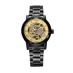 WINNER Excellent Hand-winding Mechanical Watch Luxury Hand Wind Up Hollowed-out Transparent Dial Alloy Strap Chic Brand Unisex Wristwatch