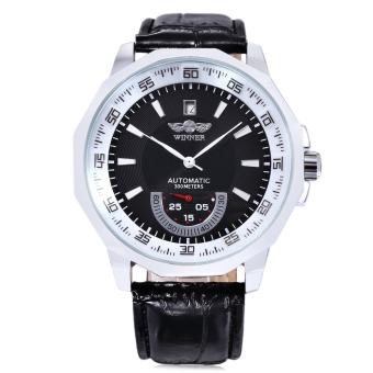 WINNER F1205292 Male Auto Mechanical Watch Date Display Working Sub-dial Wristwatch (Black)