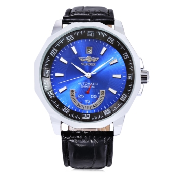 WINNER F1205292 Male Auto Mechanical Watch Date Display Working Sub-dial Wristwatch (Blue)