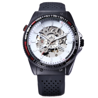WINNER F120592 Male Auto Mechanical Watch Hollow-out Dial Luminous Pointer Wristwatch (White)