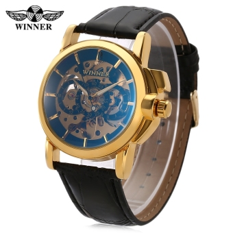 Winner Fashion Men Auto Mechanical Watch Luminous Pointer Hollow Back Decorative Sub-dial Wristwatch