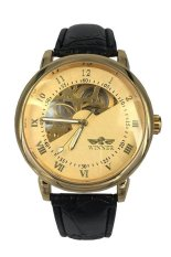 Winner Hand-Wind Mechanical Dial Black Leather Strap Wrist Watch WIN-K0030 Gold