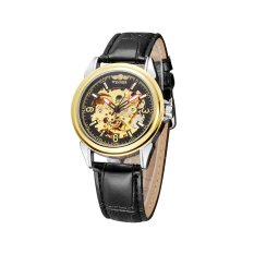 WINNER High Quality Hollowed-out Self-winding Automatic Mechanical Watch Transparent Case-back PU Leather Strap Unisex Wristwatch - Intl