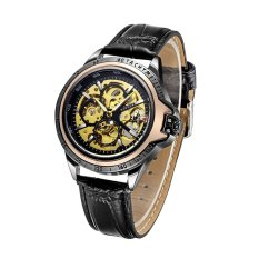 WINNER Luxury Skeleton Automatic Men Mechanical Watch Luminous PU Leather Hollow-out Self-winding Business Man Casual Wristwatch With Box