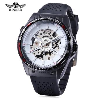 WINNER Men Auto Mechanical Watch Hollow-out Dial Luminous Pointer Wristwatch