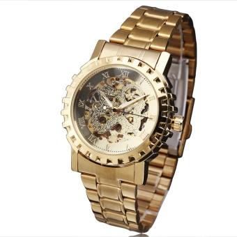 WINNER Men Luxury Automatic Mechanical Wrist Watch Stainless-steel Strap Skeleton Roman Watch 3D Gear Bezel GOLDEN & SILVER 036 - intl