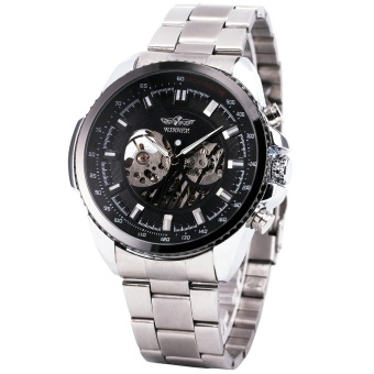 Winner Men's Mechanical Automatic Watch Skeleton Dial Stainless Steel Silver Strap Military Sport watches for Men Retro Designer 229 - intl