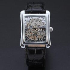 WINNER Square Skeleton Mechanical Hand Wind Mens Leather Strap Watch Silver WW177
