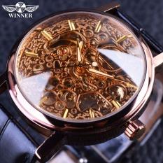 Winner Transparent Coffee Case Luminou Clock Men Skeleton Mechanical Wrist Watch - Intl