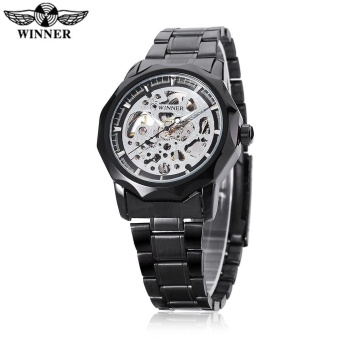 WINNER U8061 Male Auto Mechanical Watch Hollow-out Dial Stainless Steel Band Wristwatch - intl