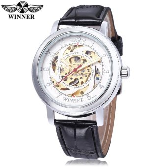 WINNER W111801 Male Auto Mechanical Watch Luminous Pointer Water Resistance Leather Strap Wristwatch (White) - intl