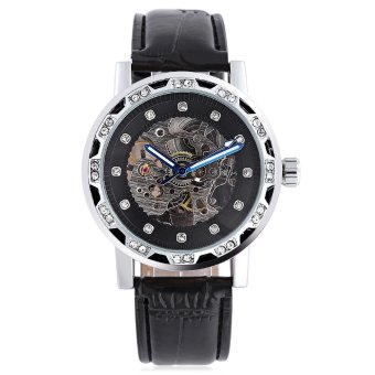 WINNER W138 Male Auto Mechanical Watch Luminous Leather Strap Artificial Diamond Dial Wristwatch (Black) - intl