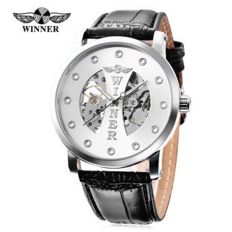 Winner W142 Male Auto Mechanical Watch Crystal Scales Luminous Wristwatch for Men (Silver) - intl