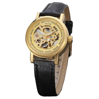 WINNER Women Ultra-thin Sided Skeleton Mechanical Wrist Watch (Gold)