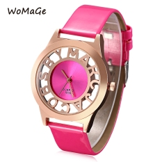 WOMAGE 1039 Female Quartz Watch Letter Pattern Transparent Dial Back Cover Leather Band Wristwatch (Pink)