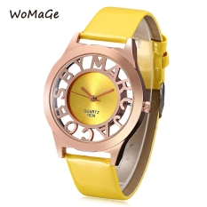 WOMAGE 1039 Female Quartz Watch Letter Pattern Transparent Dial Back Cover Leather Band Wristwatch (YELLOW)
