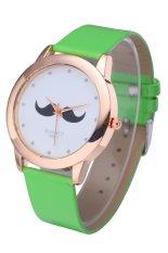 WoMaGe 380-1 Unisex Leather Watch Beard Mustache Novelty Gentleman Quartz Wristwatch (Green) (Intl)