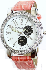 WoMaGe 9346D Ms Diamond Quartz Leather Strap Watches (Pink) (Intl)