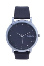 Womage 9827 Fashion Nails Leather Watch with Diamond Surface Wrist Ladies Quartz Watches (Black)
