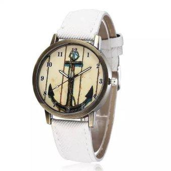 WOMAGE Arrow Bow Vintage Fashion Quartz Watch Women Casual PU Leather Straps Wrist Watches white