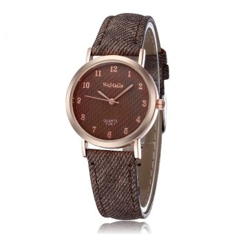 WOMAGE Blue Jeans Style Straps Women's Wrist Watch Alloy Case Analog Quartz Watches brown